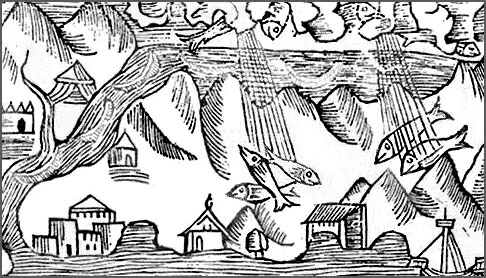 Raining Fish Woodcut 1555