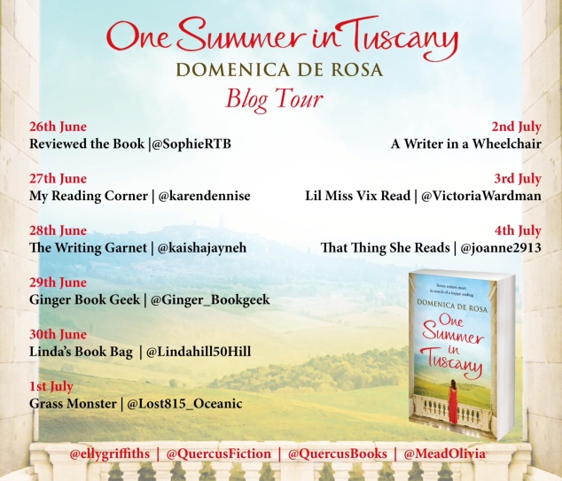 One Summer in Tuscany blog tour poster