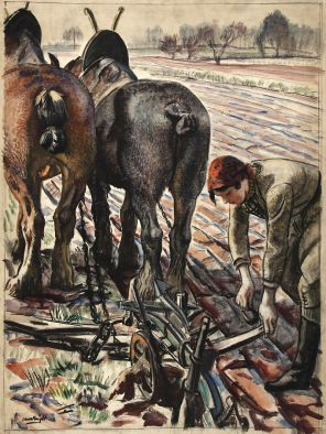 800px-INF3-108_Food_Production_Horse-drawn_plough,_land_girl_Artist_Laura_Knight