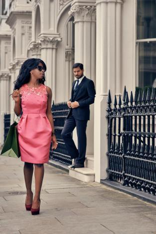 steph pink dress