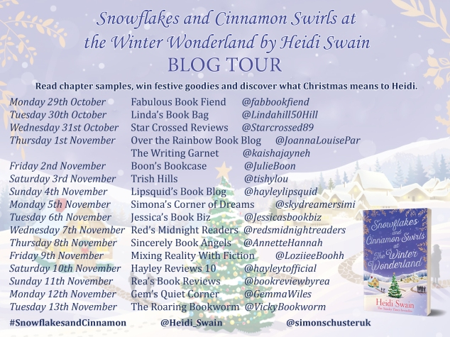 Heidi Swain Blog Tour Banner - Snowflakes and Cinnamon Swirls