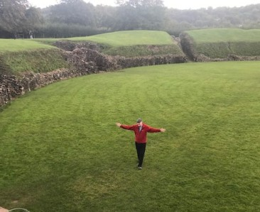 Tim in the ampitheatre at Caerleon